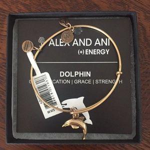 Alex and Ani gold dolphin bracelet